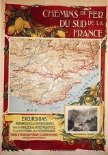 """""""CHEMINS DE FER DU SUD DE LA FRANCE"""" Affiche originale entoilée 82x113cm"""