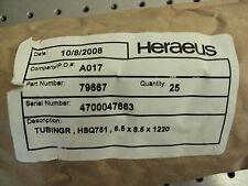 New listing Heraeus Fused Quartz Silica Tubing 6.5mm X 8.5mm x 1220mm 4' Bundle Of 25