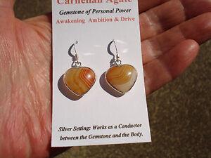 Carnelian Agate Heart Earrings-Gemstone of Personal Power-Awakening Ambition