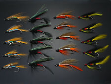 40Pcs Salmon Single Flies Black/Orange Sea Salmon Trout Fly Fishing Lures H022