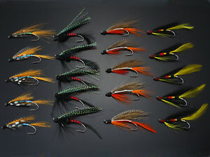 40Pcs Salmon Single Flies Black/Orange Sea Salmon Trout Fly Fishing Lures H022