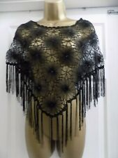 1a60e51b6 Ladies Black Crochet/Net Floral & Sequin Detail Evening/Cruise Poncho S, ...