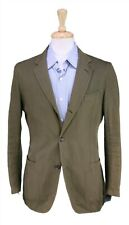 Dunhill Current Olive Green Herringbone Cotton-Linen Patch Pocket Blazer 36S