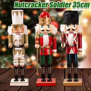 35CM Christmas Wooden Nutcracker Soldier Xmas Party Decor Ornament Nut Cracker