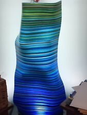 Fused Handmade Glass Floor Lamp - Granite Base - LED - Blue Barcode Glass - Art