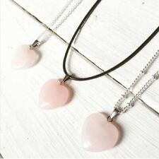 Rose Quartz Pendant Necklace Cord Beaded Chain Silver New UK