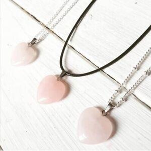 Rose Quartz Pendant Necklace Cord Beaded Chain Silver New UK