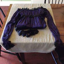 Pyramid Collection Purple Dress Crushed Velvet Juliet Sleeve Handkerchief Hem L