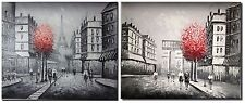 Oil Painting x 2 Panel - Paris Street - Eiffel Tower and Arc de Triomphe
