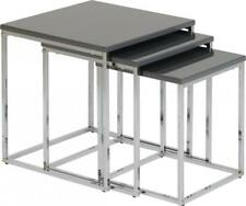 New Set of 3 Nest of Tables Grey Gloss and Chrome Occasional, Side Tables