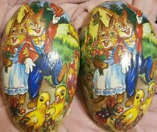"""Vtg W.Germany 9""""Paper Mache Easter Egg Candy Container Bunny Rabbits-baby chicks"""