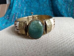VINTAGE BOVINE INDIAN or EASTERN STONE DETAIL BRASS HINGED PINNED BANGLE