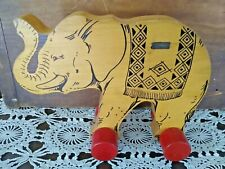 VINTAGE STEIFF WOOD ELEPHANT PULL TOY