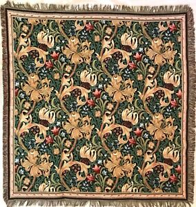 """WILLIAM MORRIS """"GOLDEN LILY"""" 60"""" BELGIAN TAPESTRY TABLE CHAIR BED THROW 7182"""