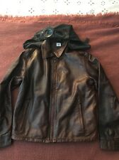 CP Company Brown Leather Goggle Jacket Mtp Liner Sz 50