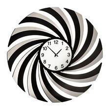 Premier Housewares 60cm Dia Black Mirrored Swirl Wall Clock Decorative Design