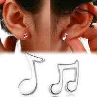 1 Pair Music Notes Earrings 925 Silver Plated Ear Stud Fashion Women Jewelry