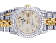 Rolex 18K/Steel Datejust 31MM 68273 Midsize MOP White Dial Diamond Watch 8.5 Ct