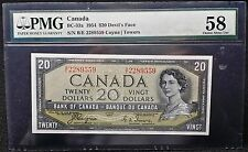 "1954 ""DEVIL'S FACE"" Canada $20 Banknote - Coyne-Towers B/E **PMG CHOICE AU-58**"