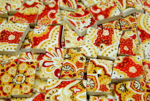 China Mosaic Tiles ~ PAiSLeY ReD & GOLD ~ Broken Plate Tiles, Mosaic Tiles