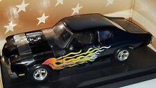 1/18 ERTL 1970 CHEVROLET CHEVELLE STREET MACHINE BLACK with FLAMES gd