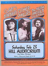 1974 Concert Poster: Gato Barbieri, Esther Phillips, Keith Jarrett. Signed.