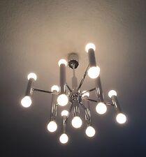 Chrom Sputnik Lampe Design 70er Lamp 17 Bulbs Sciolari Era 60s 70s Tube Light