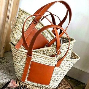 Women Fashion Genuine Leather Handbag Tote Shoulder Strap Large Beach Basket Bag