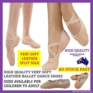 BALLET SHOES DANCE HIGH QUALITY VERY SOFT LEATHER SPLIT SOLE SIZE CHILD TO ADULT