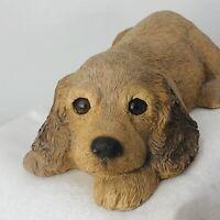"Sandicast Cocker Spaniel Puppy 1983 Signed Sandra Brue Tan Spaniel Dog 8"" Long"