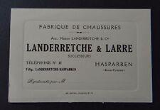 Carte de visite LANDERRETCHE & LARRE Hasparren Chaussure old visit card