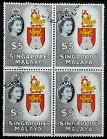 Singapore>1955>Block of 4,Used> $5 Queen Elizabeth II Coronation Issue.