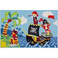 Teppich Kinderteppich Piraten Piratenschiff Spielteppich 80x120 cm grün blau