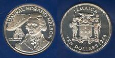 Jamaica Jamaique - 10 Dollars 1976 Horatio Nelson PROOF Argent Silver 31 000 ex