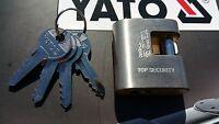 YATO PROFESSIONAL HEAVY DUTY 50mm SHUTTER  BRASS PADLOCK 4 KEYS YT-6980