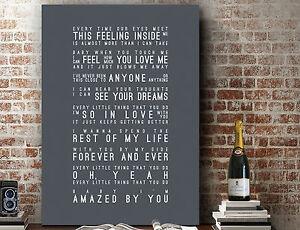 Lonestar Amazed - Poster Word Wall Art Song Lyrics GIFT | Print or Canvas