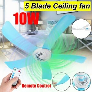 Ceiling Fan Mini Hanging 5 Blades Power Saving Home Portable w/ Wireless Remote