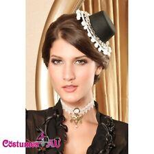 Black Mini Top Hat with rhinestones Burlesque Fascinator