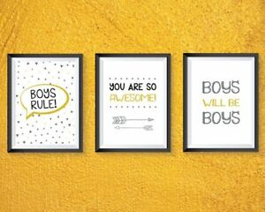 Boys bedroom Prints  grey and yellow A4 - Boys rule, boys will be boys! FREE P&P