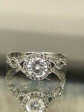 14K White Gold Twist Halo Ring Charles & Colvard Forever One Moissanite Diamond