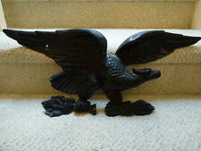 ANTIQUE CAST IRON ART JM 128 AMERICAN EAGLE  WALL PLAQUE 23IN WING SPAN WHEAT