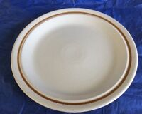 Color Stone By Nikko 12' Round Serving Platter/Chop Plate Stoneware Brown Bands