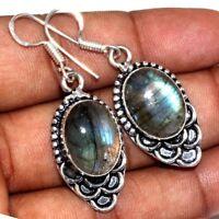 "Handmade Fire Labradorite Gemstone 925 Sterling Silver Earrings 2"" #E00342"