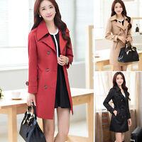Womens Double Breasted Slim Windbreaker Long Trench Coat Jacket Overcoat Outwear