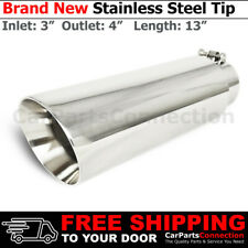 Bolt-On Stainless Truck Angled Polished 13 inch Exhaust Tip 213393 3 In 4 Out