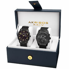 New Men's Akribos XXIV AK885BK Black Mesh Bracelet and Leather Strap Watch Set