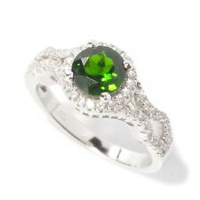 Sterling Silver 1.59ctw Chrome Diopside Solitaire w/ accent Ring, Size 7