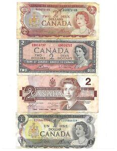 1 / 2 Dollars  Canada 🇨🇦Lots 4 Banknotes # 4 Portrait of Queen Elizabeth II