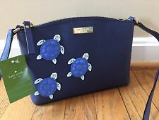 Kate Spade Under The Sea Millie Turtle Applique Crossbody Bag Tote Navy Blue NWT