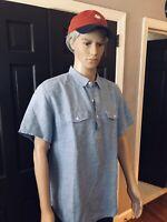 Banana Republic $88 Men's Blue SS Linen Blend Houndstooth Half Button Down Shirt